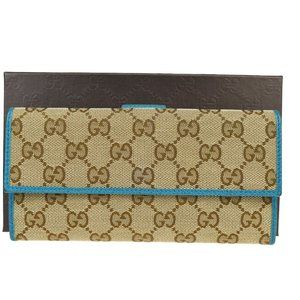 Gucci GG Pattern Sherry Canvas,Leather Long Wallet
